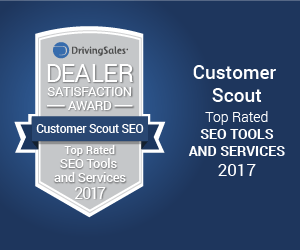 "Customer Scout SEO ""TOP RATED"" DRIVINGSALES  DEALER SATISFACTION AWARD"
